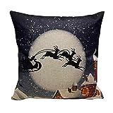 Reaso Accueil Sofa bed room Décoration , Housse de Coussin mélange de lin Housse d'Oreiller pour Noël (45cm * 45cm / 17*17') (06)