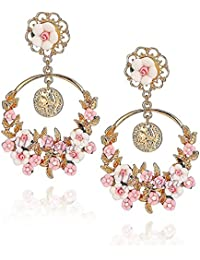 YouBella Jewellery Gold Plated Flower Shape Resin Fancy Party Wear Earrings For Women And Girls