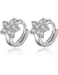 Fashmond Creolen aus echte 925 Sterling Silber - Blumen Symbol Silbrig Ohrringe für Frauen Damen Kinder Mädchen, Beste Geschenke für Party Valentinstag