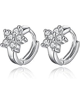 Fashmond Creolen aus echte 925 Sterling Silber - Blumen Symbol Silbrig Ohrringe für Frauen Damen Kinder Mädchen...