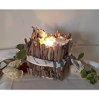 Teelicht- Körbchen aus Treibholz mit aufgelegten Muscheln...Handarbeit