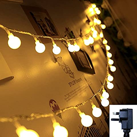 LED String Lights, QBeau Wedding Party Globe Fairy Lights 33 Feet/10 Meters 100leds Warm White LED String Lights for Patio,Garden, Bedroom, Outdoor, Indoor, Home, Living Room, Wedding, Party(UK plug)