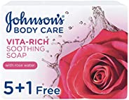JOHNSON'S Body Soap - Vita-Rich, Soothing Rose Water, 125g, Pack of 6