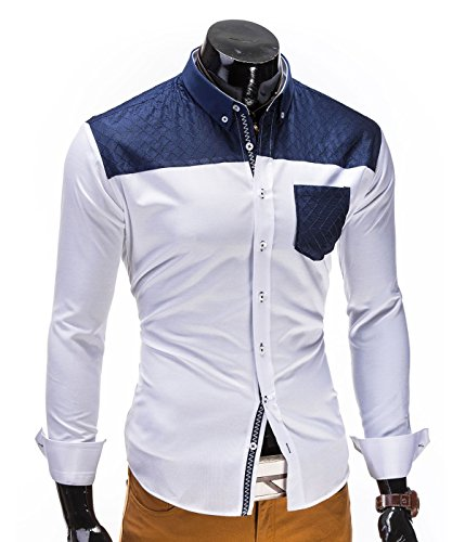 BetterStylz RaulBZ Hemd Slim Fit Langarm Hemden Freizeit Business gesteppt 2 stylische Farben (S-XL) Weiß/Dunkel Blau