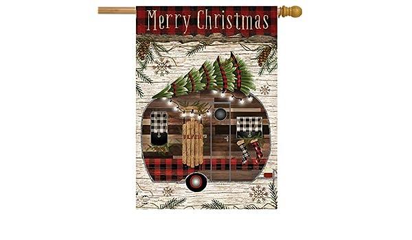 "Merry Christmas Camper Primitive House Flag Fir Trees 28/"" x 40/"" Briarwood Lane"