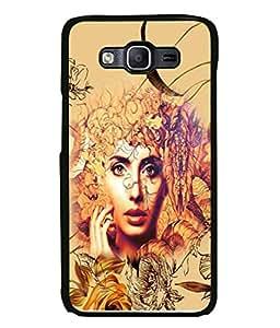 PrintVisa Designer Back Case Cover for Samsung Galaxy E7 (2015) :: Samsung Galaxy E7 Duos :: Samsung Galaxy E7 E7000 E7009 E700F E700F/Ds E700H E700H/Dd E700H/Ds E700M E700M/Ds (Hair Leaf Illustration Attractive Modern Art Graphic Cute)