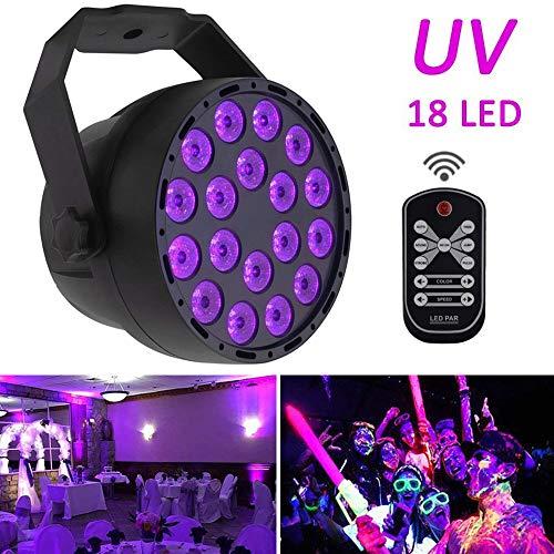 UV-Schwarzlicht, LED-Leuchtmittel, 7 Modi, Par Light 18 x 3 W LED Lampe DMX 512 DJ-Strahler, Sound aktiviert, Mini-Projektor mit IR-Fernbedienung für Partys, KTV, Show, Bar, Club, Dsico-Beleuchtung Uv