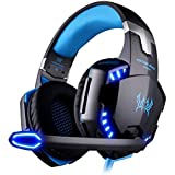 VersionTech Auriculares Gaming PS4 New Xbox One Microfono Cascos Diadema Estéreo Bass OverEar 3.5mm Jack Luz LED Volumen Control Bajo Ruido Para Nintendo Switch PC Ordenador Portátil y Móvil