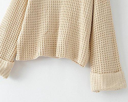 Donne Casuale Allentato Maglia Maglione Alta Colletto Maniche Lunghe Maglioni Knitted Pullover Tops Caramello Taglia Unica Albicocca