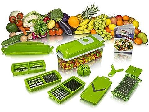 Dicer Plus Multi Slicer (Green), 13-Piece Set, Fruit & Vegetable Tools