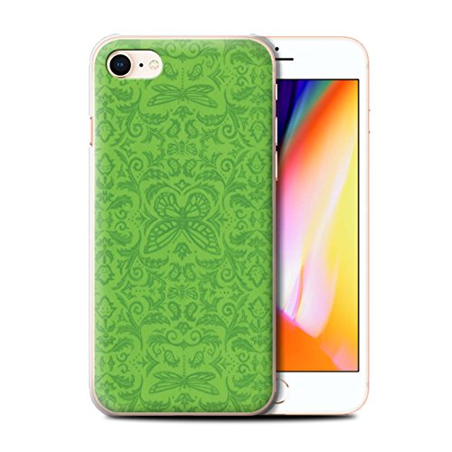 Stuff4 Hülle / Case für Apple iPhone 8 / Schwarz / Weiß Muster / Insekten Muster Kollektion Grün