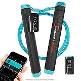 Sportstech Profi Springseil RJX500 mit Smartphone App und Bluetooth 2in1 Tracker – High-Speed Rope perfekt für Fitness-Training, Crossfit, Boxen und Abnehmen, elektronisches Sprung-Seil (RJX500 Blau)