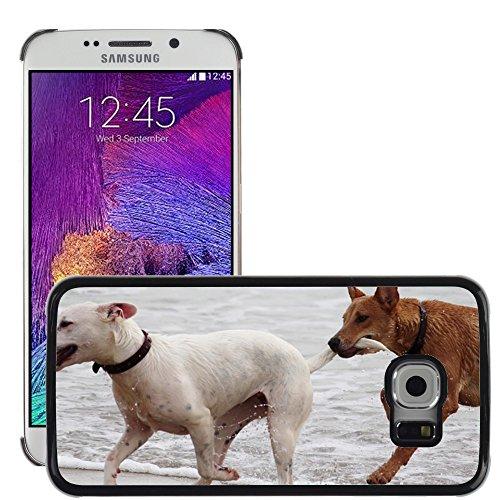 Just Phone Cases Bild Hart Handy Schwarz Schutz Case Cover Schale Etui // M00421764 Hunde Stöckchen zu spielen Beißen Romp // Samsung Galaxy S6 EDGE (Not Fits S6)