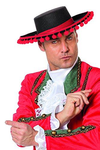 Kind Matador Kostüm - Jannes 9240 Spanier-Hut Torero mit roten Kugeln Stierkämpfer Matador Gringo Flamenco Erwachsene Einheitsgröße Schwarz