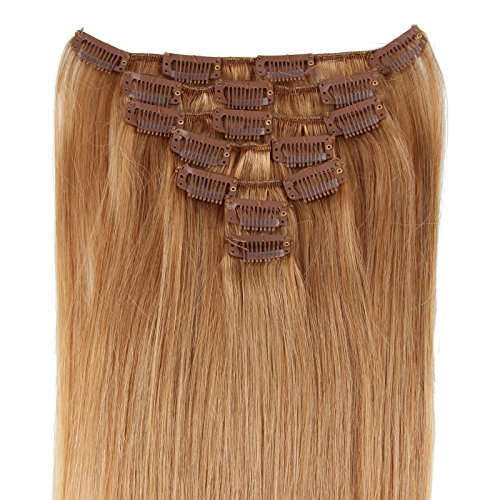 Beauty7 Extension de Cheveux Humain 7 Clips Raides/Droits / Lisse 100% Remy Hair 27# Couleur Blond Dore - Longueur 15/18 / 20/22 / 24/26 /28 Inch - Poids 70/80 /120 grams