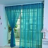 Hukz 1 Stück reine Farbe Tulle Tür Fenster Vorhang Drape Panel Sheer Schal Volants (B)