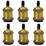 6x GreenSun LED Lighting Vintage Edison Lampenfassung E27 Fassung Deckenfassung Lampensockel Lampenfuß Retro Hängelampe Halter Pendelleuchte Adapter DIY Lampenzubehör, Antique Brass