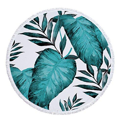 SUYUN Gedruckte runde Strandtuch Yogamatte Tropische Blätter Serie-01 150 * 150cm