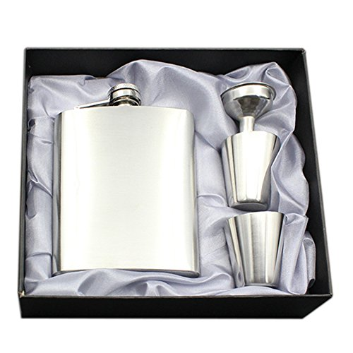 Saflyse Edelstahl Flachmann-Set Flachmann mit Trichter 7 Unzen-Flasche Silber mit Exquisite Geschenk-Box