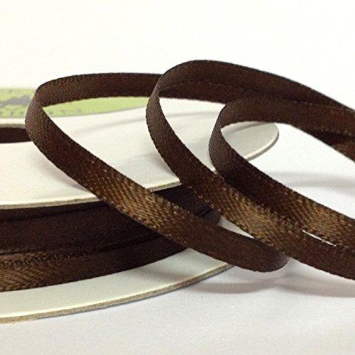 3 mm x 10 m Doppelseitiges Geschenkband aus Satin, Schokoladenbraun, Partyrama Geschenkbank, Grußkarten etc,.