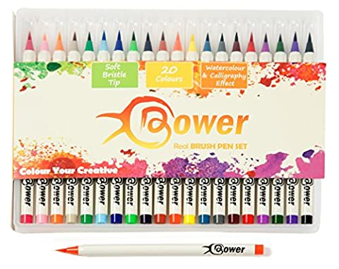 Brosse stylos pour artistes Dessin de calligraphie - Stylo Lot de 12 couleurs d'encre Idéal pour Manga, coloriage pour adulte, Designers, marqueurs à pointe en poils, des effets aquarelle ou Art de bande dessinée, Bower véritable Brosse stylos 20 Colours