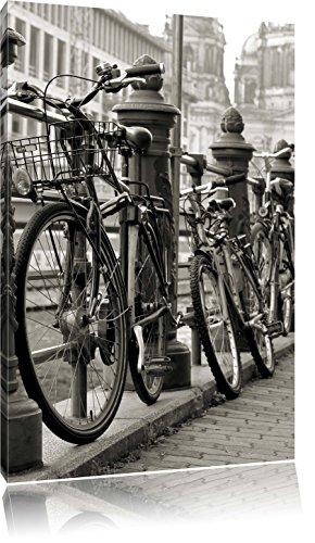 Fahrrad Bahnhof BMX Bahnschiene, Format: 80x60 auf Leinwand, XXL riesige Bilder fertig gerahmt mit Keilrahmen, Kunstdruck auf Wandbild mit Rahmen, günstiger als Gemälde oder Ölbild, kein Poster oder Plakat