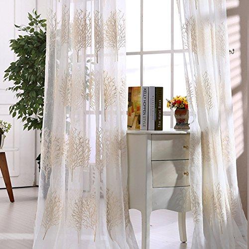 Verdickte weiß Garn Stickerei Baumwolle und Leinen Fenster , 2*(60W x 96