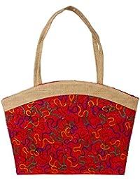 Styles Creation Women's Red & Beige Embroidery Tiffin Bag/ Carry Bag/ Jute Bag/ Hot Case Handbag Lunch Bag (HNDBG18)