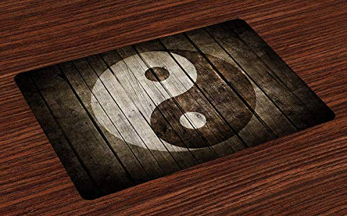 Ying Yang Place Mats Rustic Wood with Ying Yang Sign