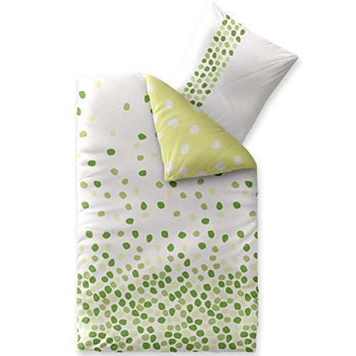Lino cotone set caldo letto traspirante interno morbido e copripiumino 80x 80cuscino federa cuscino con cerniera lavabile oeko tex celin atex bianco verde punti fashion ilona, cotone, bianco, 155 x 220 cm