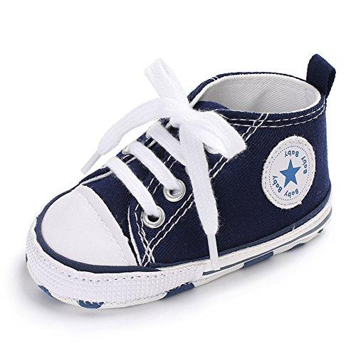 Süße Baby-Leinwand-Turnschuh Anti Skid weicher netter Trainer Schuhe 0-18M, Blau, S: 0 ~ 6 Monate