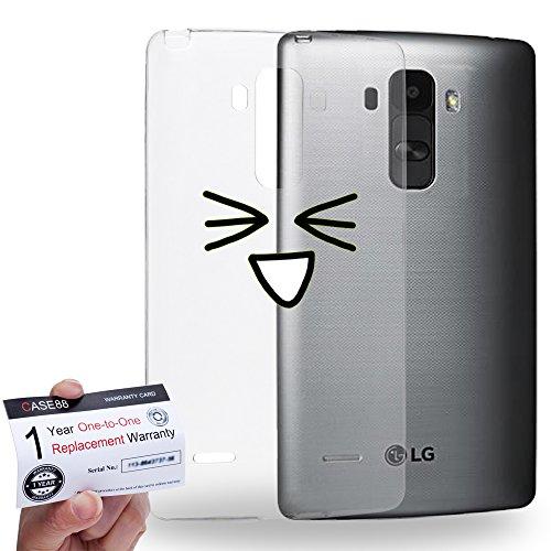 Case88 [LG G4 Stylus] Gel TPU Hülle / Schutzhülle & Garantiekarte - Art Fashion Excited Kawaii Emoticon Edition * Transparent background *