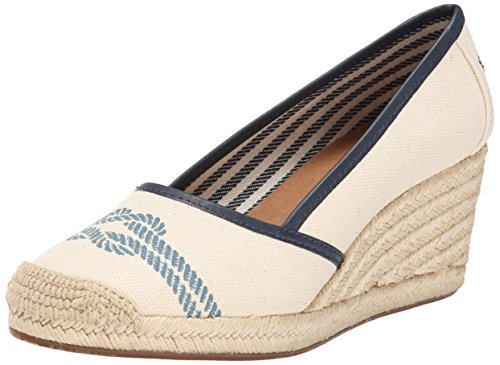 Sperry Top-Sider Women's York Nautical Knot Wedge Sandal, Ivory/Navy, 5 M US Knot Wedge Sandal