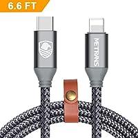Metrans Cable Lightning USB C, Cable USB C Lightning en Nylon Trenzado 6.6ft/2m, USB 3.0 Tipo C a Lightning Sync y Cable de Datos para iPhone iPad Conectarse a Macbook y Otros Dispositivos de Tipo C