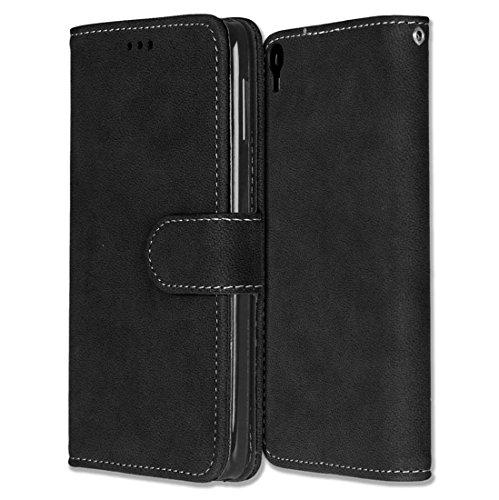 Alcatel One Touch Idol 3 (5.5) Hülle, Chreey Matt Leder Tasche Retro Handyhülle Magnet Flip Case mit Kartenfach Geldbörse Schutzhülle Etui [Schwarz]