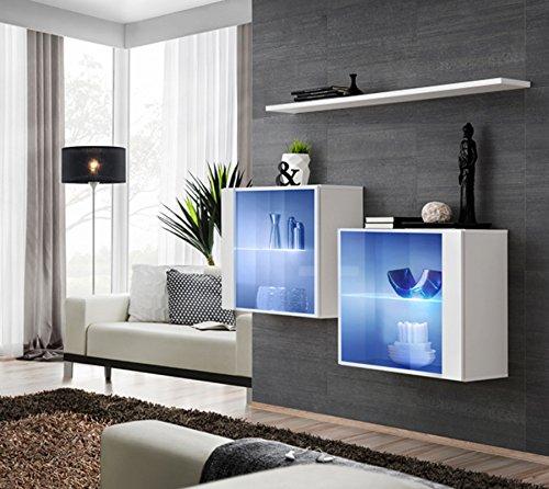 Vidal composizione due vetrine con una mensola per sala soggiorno.  Vetrinette compresa illuminazione a led