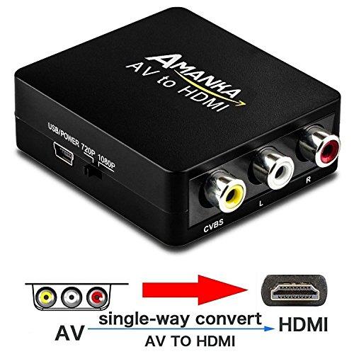 CVBS AV zu HDMI 1080P Video Audio Konverter Unterstützung PAL/NTSC, für PS3/STB/Xbox/VHS/VCR/BLU-RAY-DVD-Player/TV/PC, Schwarz ()