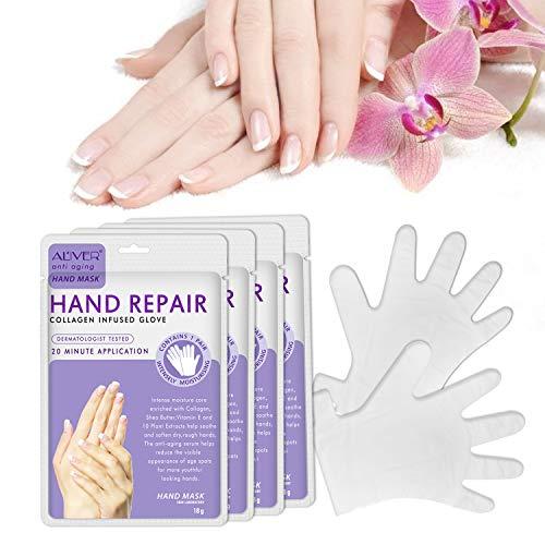 Maschera per Mani Guanti Idratanti per la Cura delle Mani Maschera Esfoliante Rigenerante Nutriente per Invecchiamento Secco e Mani Screpolate