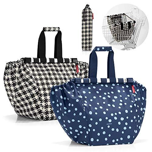 reisenthel easyshoppingbag 2tlg. Einkaufstasche Einkaufsbeutel shoppingbag easybag (Fifties Black + Spots Navy)
