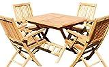 ASS Set: Teak GARTENSET Gartengarnitur Klapptisch 80x80 + 4 Klappsessel mit Armlehne Geölt 'AVES80+4S' Holz von