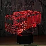 Camion dei vigili del fuoco 3D lampada da tavolo a 7 colori da tavolo lampada da tavolo a led con tendone regalo decorazione della casa
