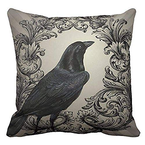 Home Fashion Black Raven Pattern Throw Pillow Case, Flowers Surrounded Printing Cushion Cover Happy Halloween Series Sofa Waist Pillow Shams (Square)