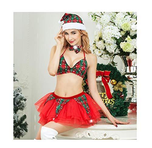 Miss Erwachsene Santa Sexy Kostüm Damen Für - WFTD Trendige Miss Sexy Christmas Bikini-Christmas Girl Short Rock Sexy Rock Christmas Hat Eine Größe Passt Alle, Red
