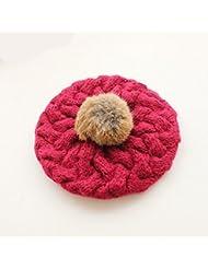 Bola Bola de pelo de lana de lana pura de la mujer sombrero de invierno de punto caliente del sombrero ( Color : D )
