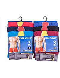 IMTD 6prs Mens Cotton Lycra Boxer Shorts Rude Novelty Fun Design Underwear Valentines Gift Idea S-XL