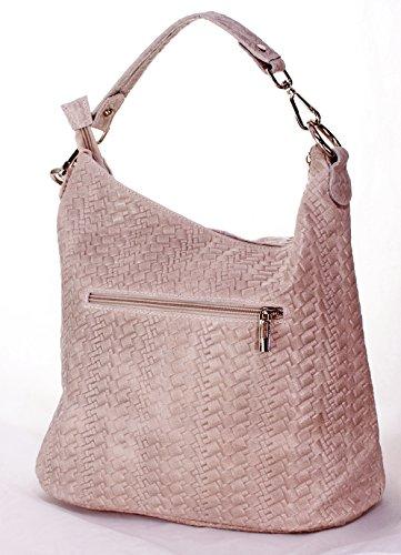 55b9528db1f6b Ital Echt Leder Damentasche Umhängetasche Schultertasche Tragetasche  Wildleder (rosa) rosa ...