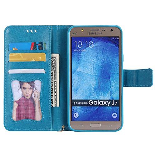 Coque Galaxy J7 2015, ISAKEN Coque pour Samsung Galaxy J7 2015 - Peinture Style Lumineux Luminous Etui PU Cuir Flip Magnétique Portefeuille Etui Housse de Protection Coque étui Case Cover avec Stand S Bleu
