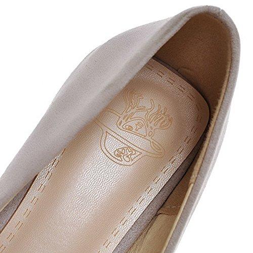 AgooLar Femme Dépolissement Tire Carré à Talon Correct Couleur Unie Chaussures Légeres Gris
