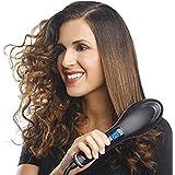 Pink Pari Ceramic Simply Straight 2in1 Hair Straightener Brush (5x6x7cm, Multicolour)