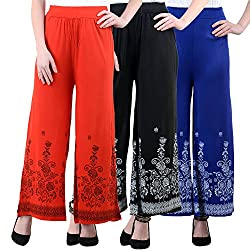 NumBrave Red, Black And Royalblue Viscose Floral Print Palazzo Pants for Women-Pack of 3